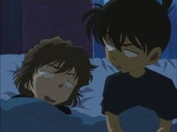 Conan and Haibara were sleeping side-by-side.